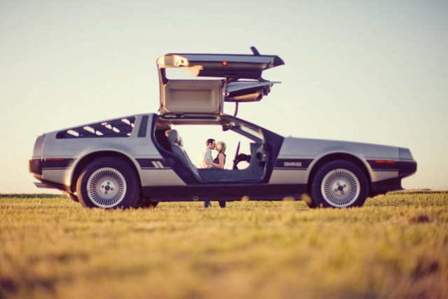 delorean engagement shoot