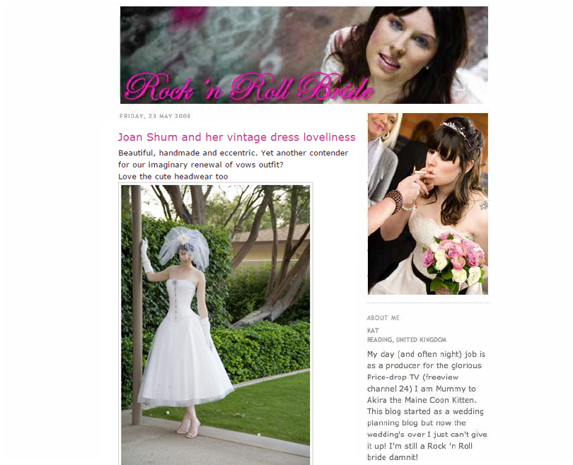 Blog From 2007 Into The Rock N Roll Bride You Are Reading Today