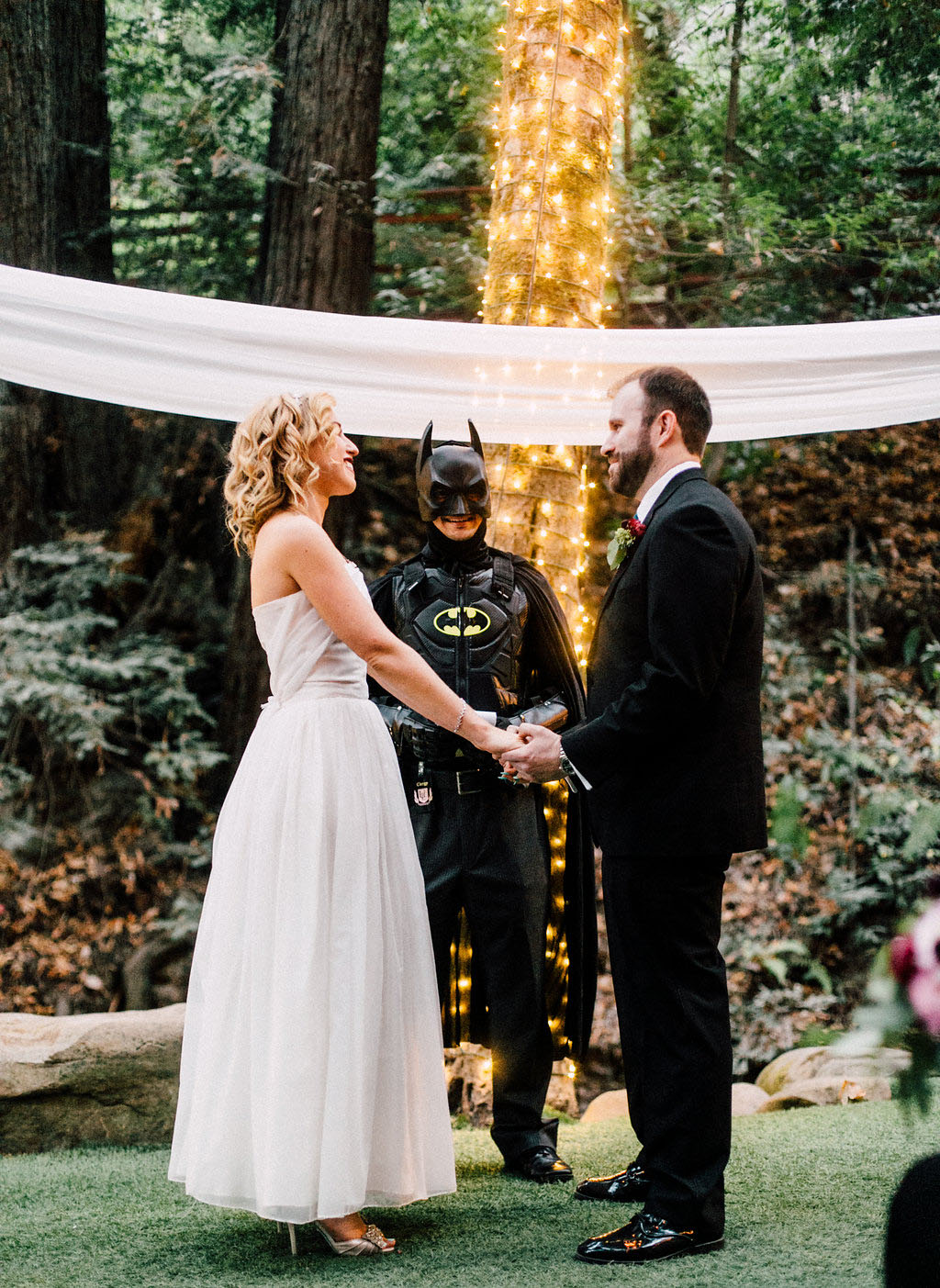 Casual Wedding Officiated by Batman · Rock n Roll Bride