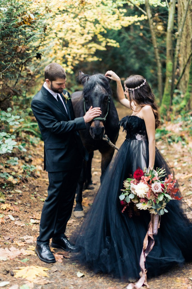 Woodland Nymph in a Black Wedding Dress (1)