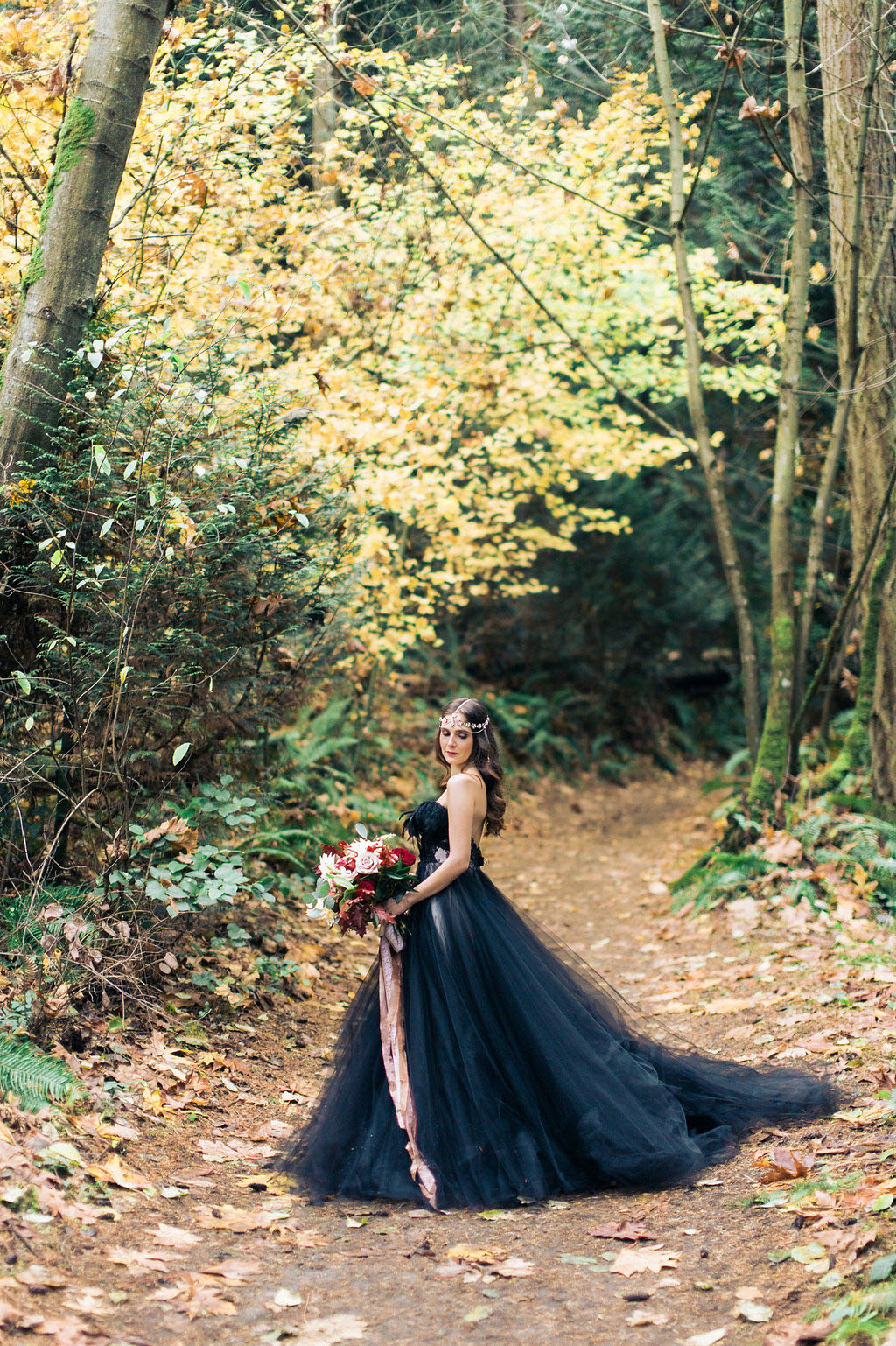 Woodland Nymph In A Black Wedding Dress 183 Rock N Roll Bride