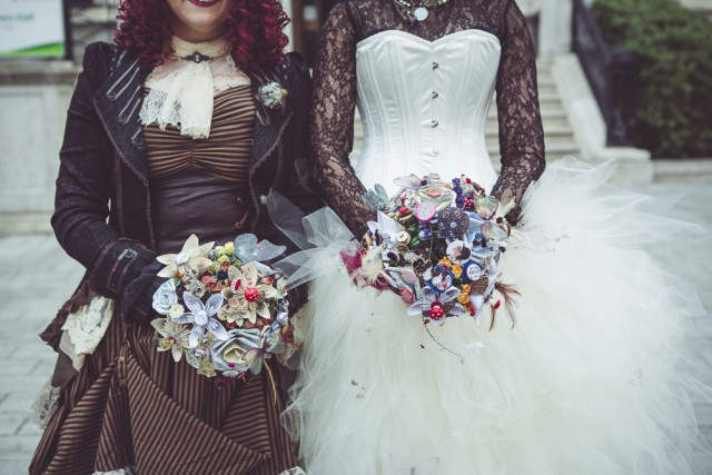 Steampunk wes anderson woody allen wedding in islington for Where can i get my wedding dress steamed