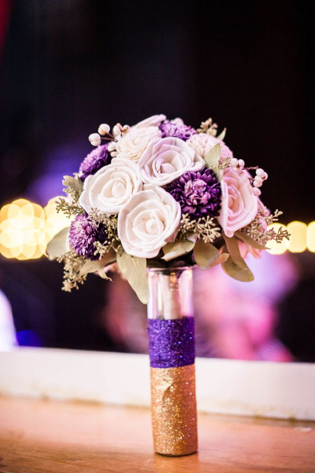 Purple gold wedding at the venue where they first met rock n purple gold wedding at the venue where they junglespirit Image collections