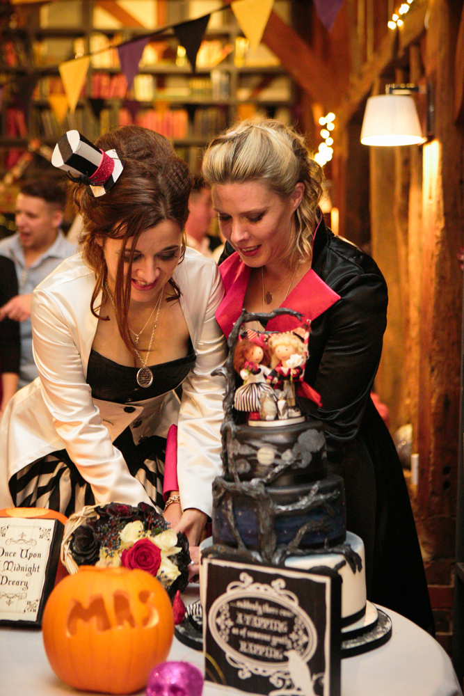 same halloween costume party wedding with rainbow bridesmaids
