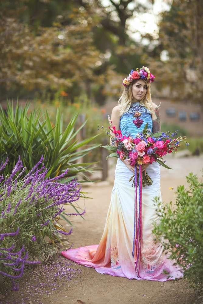 Dia De Los Muertos Inspired Painted Wedding Dress 183 Rock N