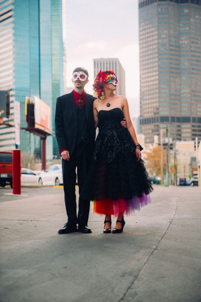 There Are So Many Things To Be Obsessed With In Britani And Matt S Wedding The Bride Black Dress Rainbow Petticoat Combo Dia De Los Muertos Masks