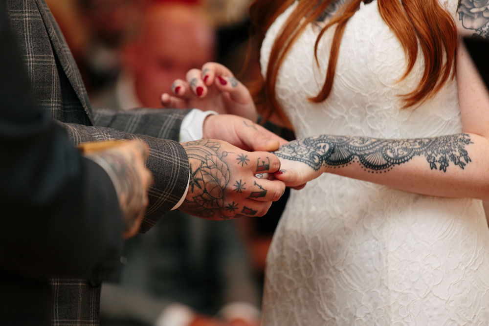 Mehndi Hands Couple : Super pretty rustic wedding for a heavily tattooed couple · rock n
