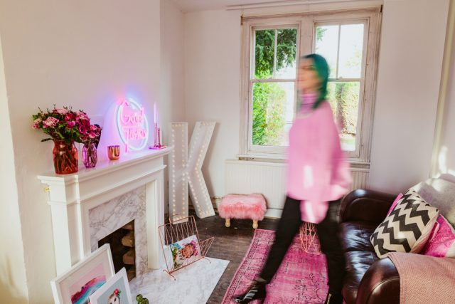 Our living room reveal with prezola rock 39 n roll bride for Rock n roll living room