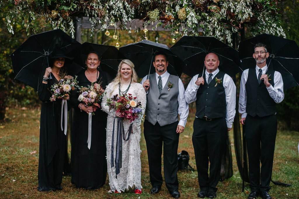 Southern Gothic Wiccan Wedding in the Rain Rock n Roll Bride