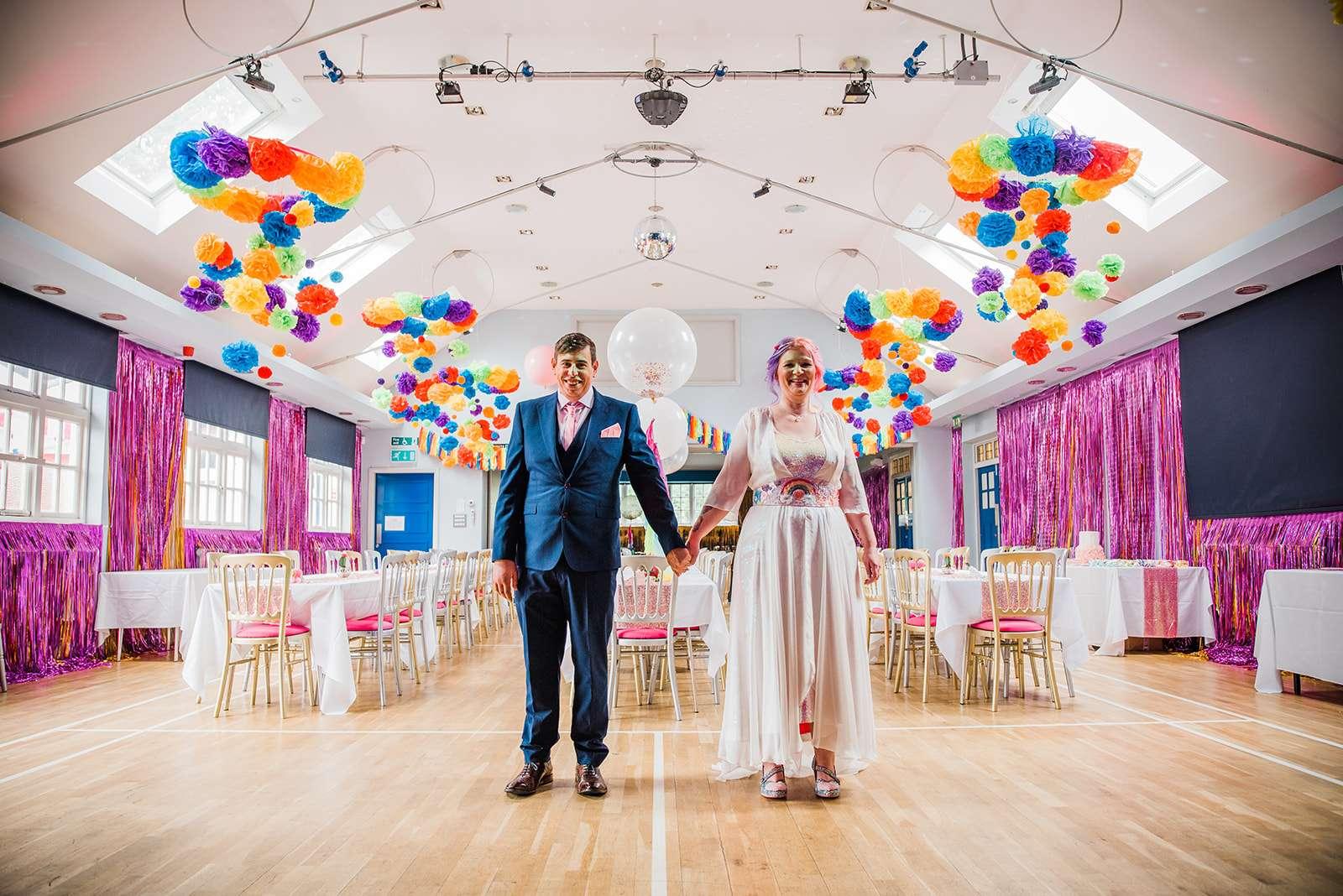 kawaii rainbow disco wedding party rock n roll bride