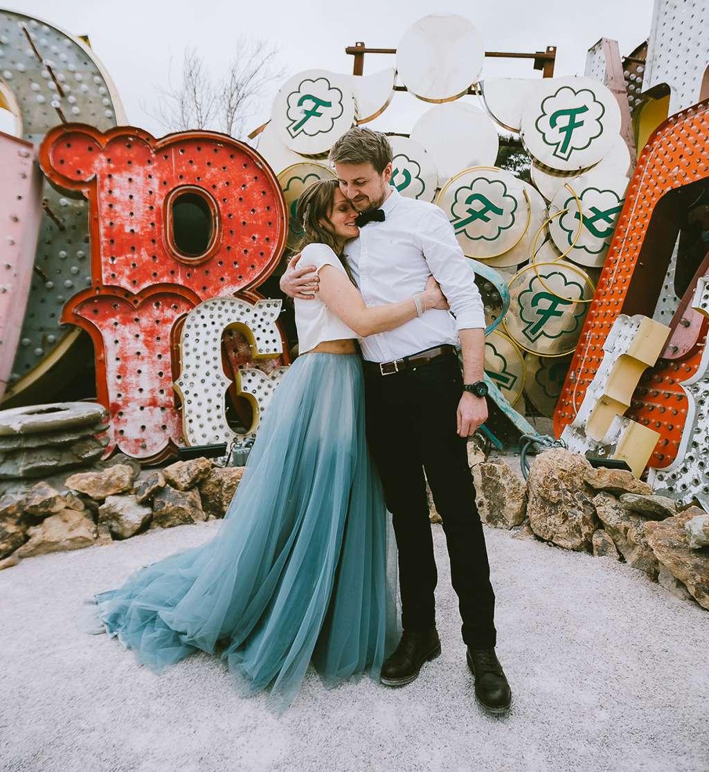 Neon Graveyard Las Vegas Elopement with a Blue Wedding Dress ...