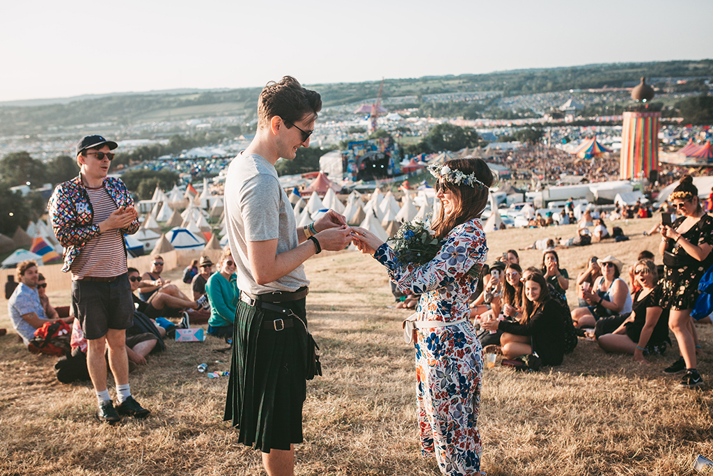 Fun, Lowkey Wedding Celebration at Glastonbury Festival