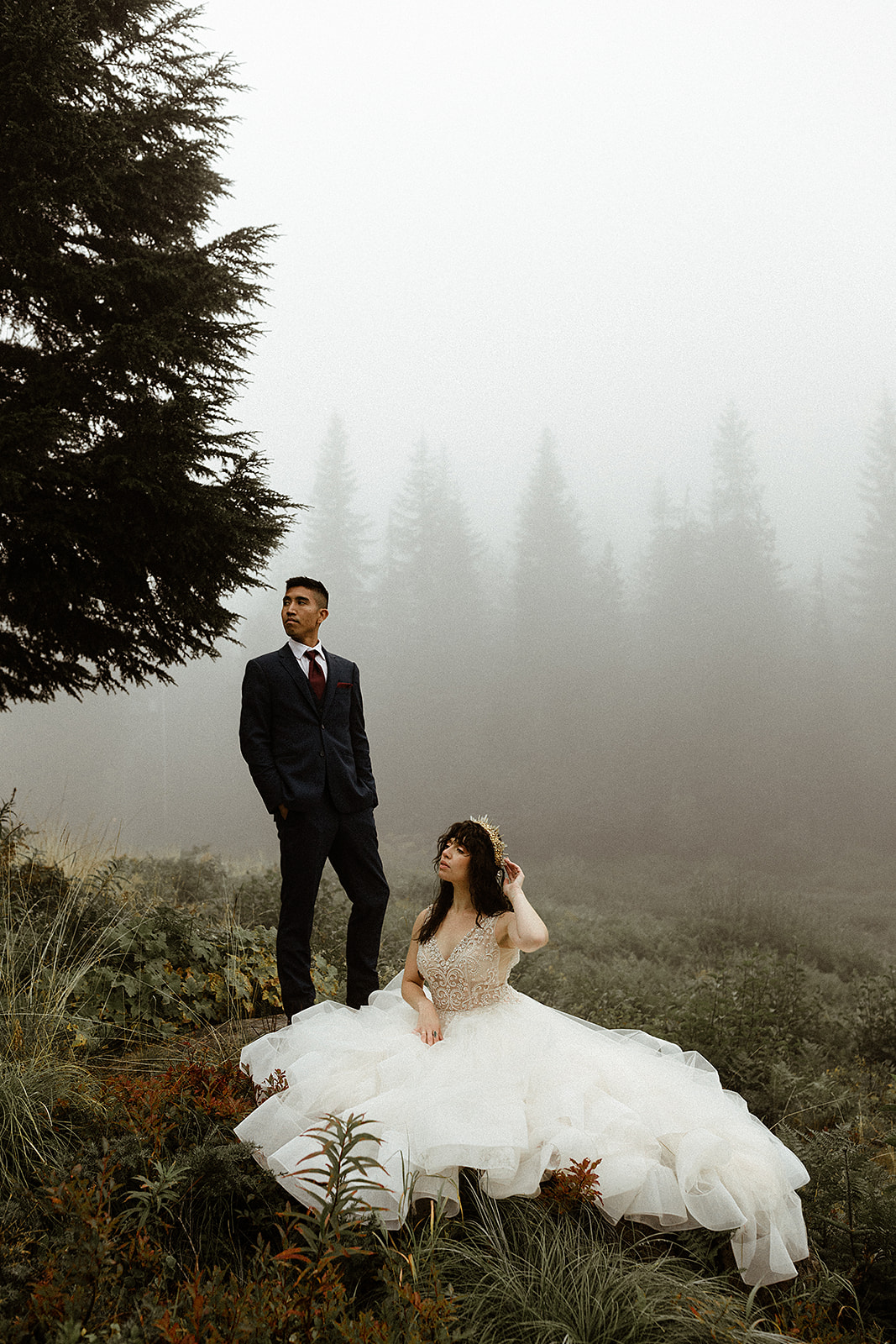 Foggy Mt Hood Autumn Fairytale Wedding