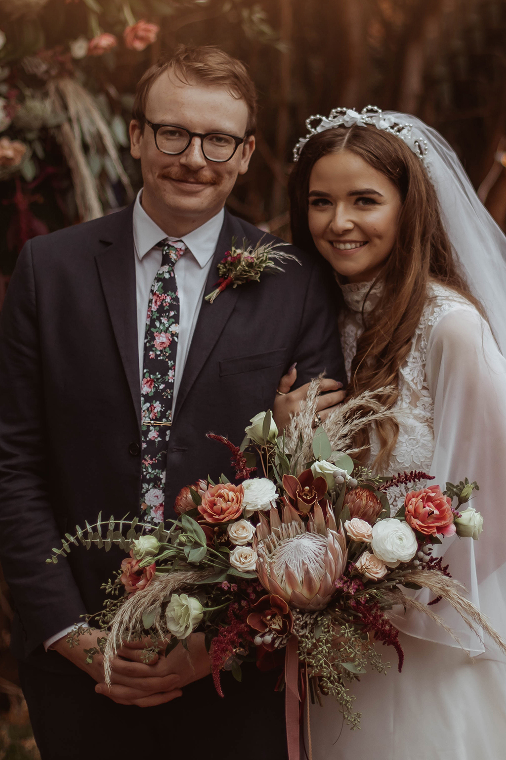 Thrifted Backyard Wedding with 1970s Vibes